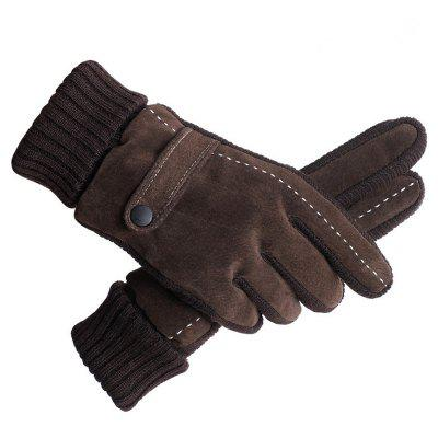 Men's Genuine Leather Outdoor Riding Gloves Winter Warm Glove Students