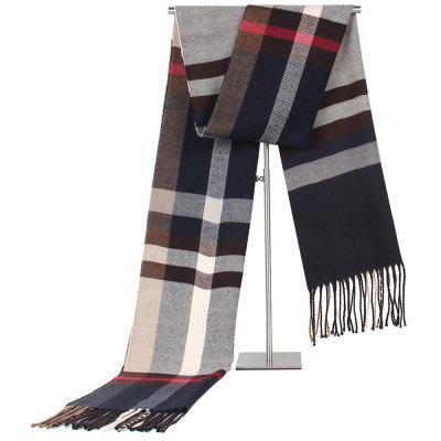 Mannen warme herfst Winter Color Block plaidsjaal Fringed Ouderen halsdoek