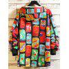 Men's Fashion Drinks Printing Hoodie Graffiti Style Personality Pullover - GREEN SNAKE