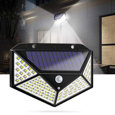 100 LED Solar Powered 600lm PIR Motion Sensor Wall Light Outdoor Garden Lamp 3 Modes