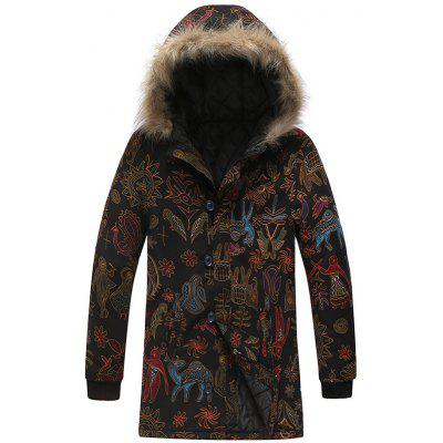 Men's Fashion National Style Printing Parka Warm Personality Long Coat Fur Collar