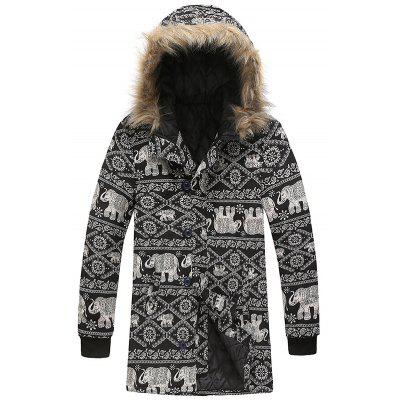 Fashion National Style Elephant Printing Parka Warm Fur Hat Long Coat Heren