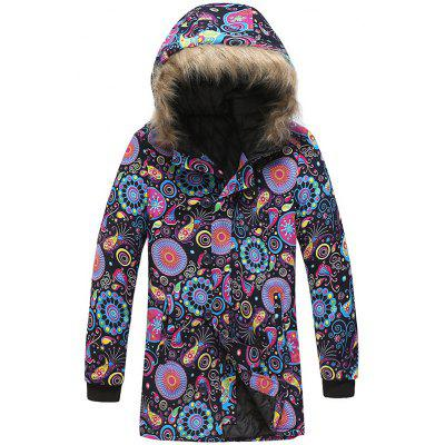 Men's National Style Printing Creative Parka Hooded Long Coat