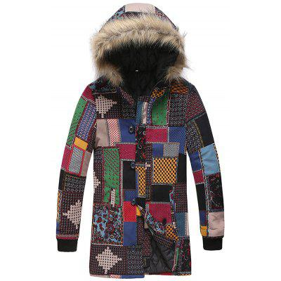 Men's Fashion National Style Printing Parka Patchwork Squares Hooded Long Coat