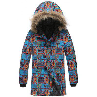Men's Fashion Geometrische Print Parka Warm Hooded Top voor de winter