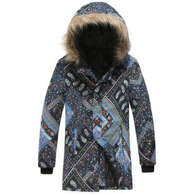 Herren Flickwerk Mode Druck Parka Warmer Winter Kapuzenmantel