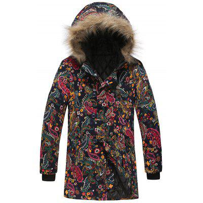 Men's Fashion Fur Hat Winter Parka National Style Printing Casual Jacket