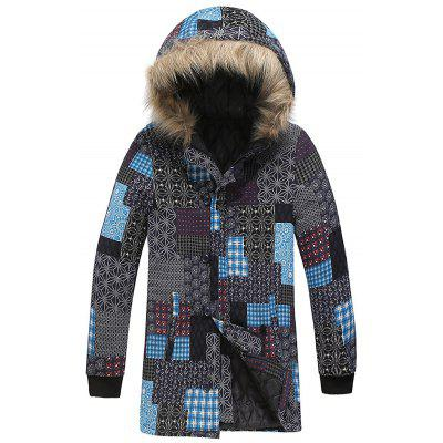 Men's Fashion Patchwork Geometric Print Parka Personality National Style Hooded Top