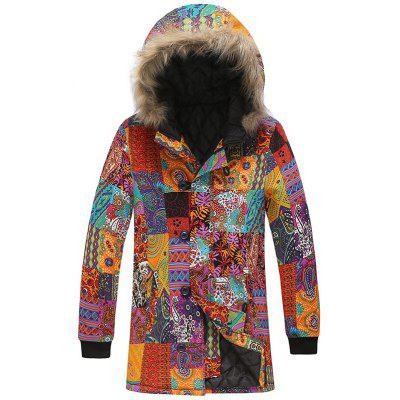 Men's Fashion National Style Printing Parka Cool Furry Hooded Coat Warm