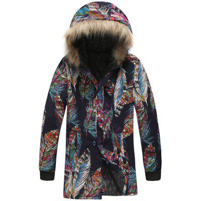 Men Creative Feather Printing Parka Warm Winter Hooded Long Coat