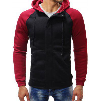 Men's Hidden Zipper Casual Hoodie Patchwork Hooded Top with Drawstring