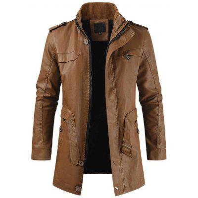 Men Stand Collar Zipper Long Trench Fashion Business Coat Solid Color Jacket Waist Lace-up