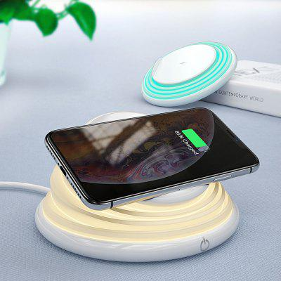 3 in 1 Folding 10W Fast Charge Wireless Charger with Sleep Breathing Night Light and Telescopic Mobile Phone Holder