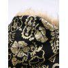 Pánska móda National Style Parka Abstract Flower Print Down Coat s kapucňou - MULTI
