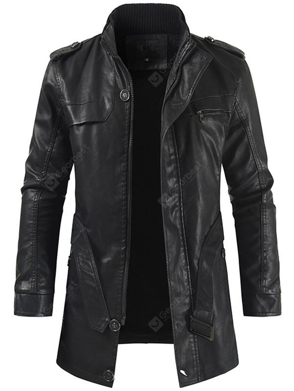 Men Stand Collar Zipper Long Trench Fashion Business Coat Solid Color Jacket Waist Lace up