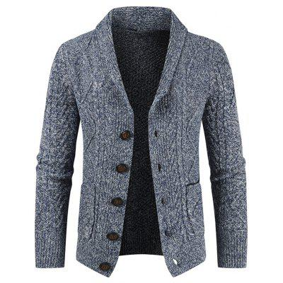 Men's Fashion Lapel Button-down Sweater Casual Knit Cardigan with Pockets