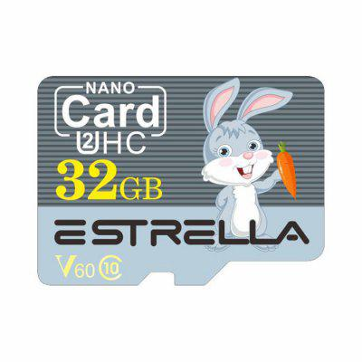 ESTRELLA Dier van de Cartoon Pattern High Speed ​​Micro SD Card U2HC SDHC V60 Class 10 Memory TF Card