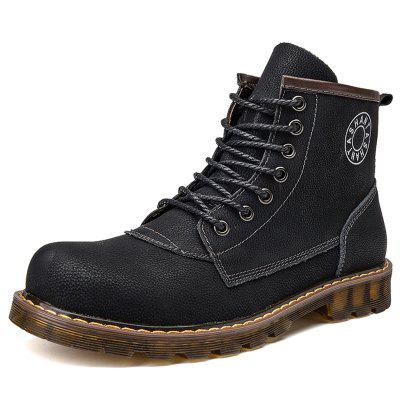 AILADUN Men Trend Mid-high Tooling Boots Plus Velvet Warm Lace Up Casual Shoes