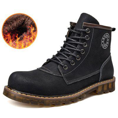 AILADUN Mannen Trend Mid-high Tooling laarzen Plus Velvet Warm Lace Up Toevallig Schoenen