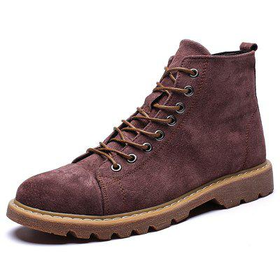 AILADUN Men's High-top Lace Up Boots Solid Color Casual Shoes