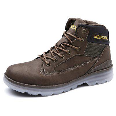 AILADUN Men Outdoor Durable Tooling Boots Non-slip Patchwork Lace-up Shoes