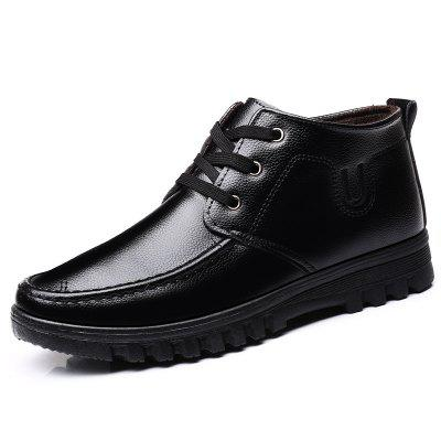 Men's Warm Winter Dress Shoes Fashion Business Lace Up Footwear Solid Color
