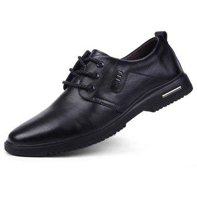 Men's Winter British Style Increased Height Within Casual Shoes Genuine Leather Business Dress Shoe Pointed Toe