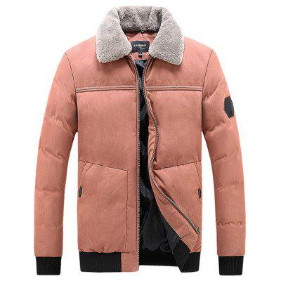 Men Simple Furry Lapel Parka Warm Zipper Coat Winter