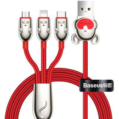 Baseus 3-in-1-type C Micro USB 8 Pin datakabel 3.5A Fast Charge 1.2m