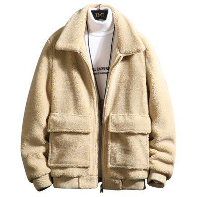 Mannen Solid Color Furry Jacket comfortabele, warme Minimalistische Top Kleren van de Winter met zakken