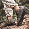Men's Large Size Outdoor Climbing Sneaker Durable Patchwork Lace Up Shoes - BROWN