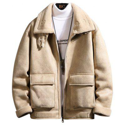 Men's Thick Winter Zipper Jacket Fashion Furry Lapel Top Big Pocket