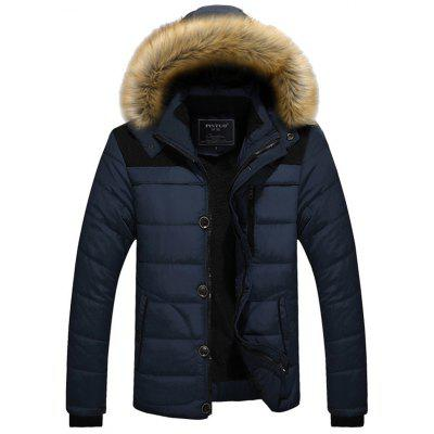 Men's Fashion Patchwork Parka Warm Loose Winter Coat Hooded