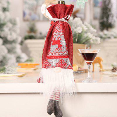 Crăciun Faceless Doll Simulare barbă Old Man sac de cadouri Sticla de vin decorative Bag