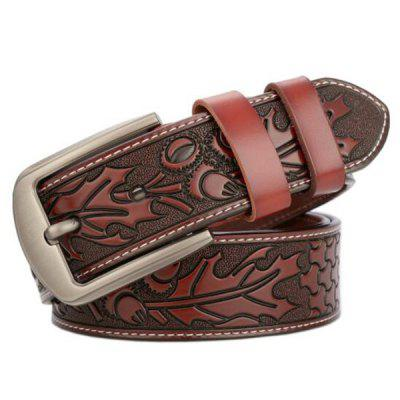 Men's Leaves Carved High-end Genuine Leather Belt Fashion Personality Jeans Waistband