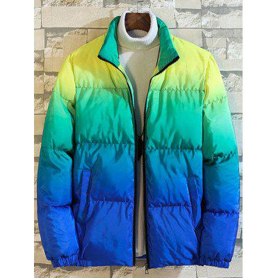 Men's Fashion Gradient Color Printing Parka Warm Stand-collar Casual Jacket