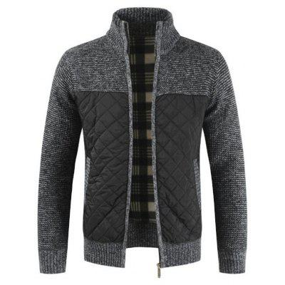 Men Fashion Patchwork Thick Sweater Warm Stand Collar Long-sleeved Knit Top