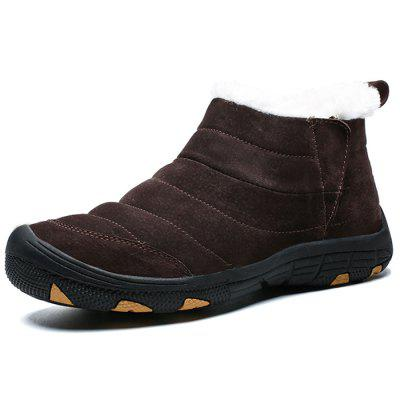 AILADUN Men Fashion Stripe Snow Boots Warm Comfortable Slip-on Shoes