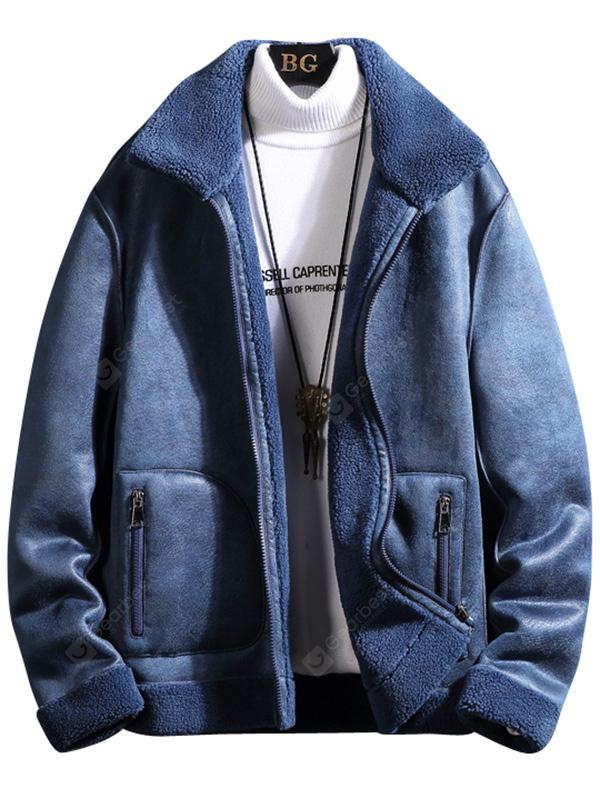 Men Solid Color Furry Jacket Comfortable Warm Minimalist Top Winter Clothes with Pockets