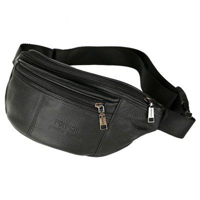 Men's High-end Sports Waist Bag First Layer Cowhide Leather Pocket Pack