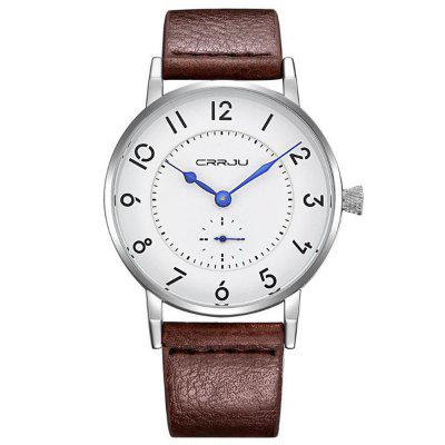 CRRJU Men's Casual Leather Belt Watch Sports Business