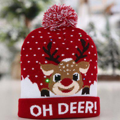 Christmas 6 Flashing LED Lights Tri-mode Hat with Knit Ball Flanging Edge Cap