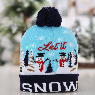 Kerstmis 6 knipperende LED verlichting Tri-mode Hat met Knit Ball Flanging Edge Cap