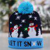 Kerstmis 6 knipperende LED verlichting Tri-mode Hat met Knit Ball Flanging Edge Cap - MIDDERNACHT BLAUW