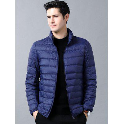 Men's Winter Solid Color Stand Collar Warm Down Coat