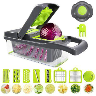 Household Multifunctional Dicing Cutting Tool Set Main Device + 7 Cutters + Draining Basket
