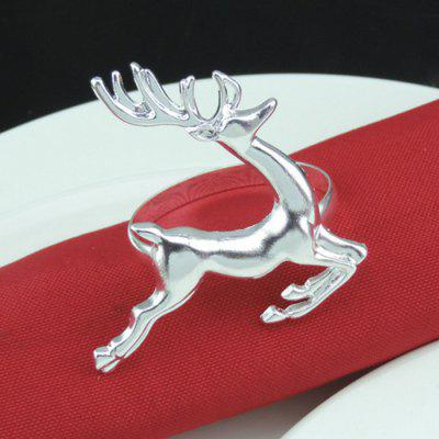 Christmas Series High-grade Alloy Napkin Ring Fashion Elk Design Party Supplies 12pcs