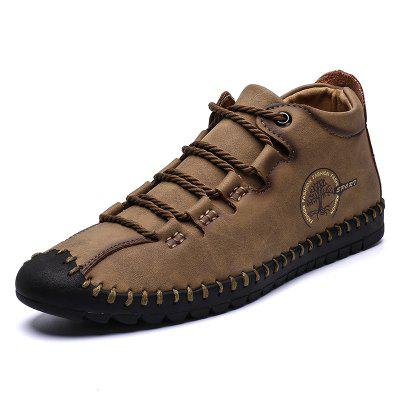 Senbao Mannen Solid Color Retro Lace-up Short Boots Anti-collision Toe Fashion Microfiber Leather Shoes