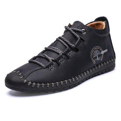 SENBAO Men Solid Color Retro Lace-up Short Boots Anti-collision Toe Fashion Microfiber Leather Shoes