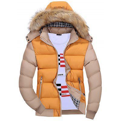 gearbest.com - Men Color Matching Hooded Fur Collar Warm Parka Coat